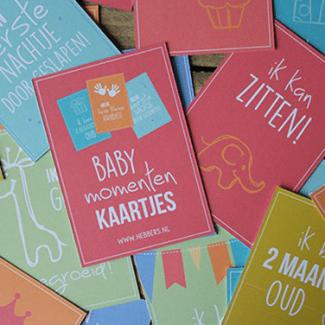Baby momenten kaartjes kleur milestone kaartjes Hebbers