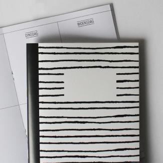 Hebbers schriftje lijnen zwart wit