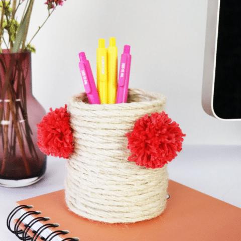 Maak een pennenbak van touw